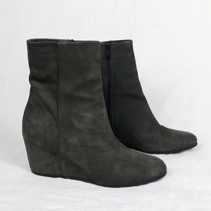 Vince Suede Michela Ankle Booties Olive Green